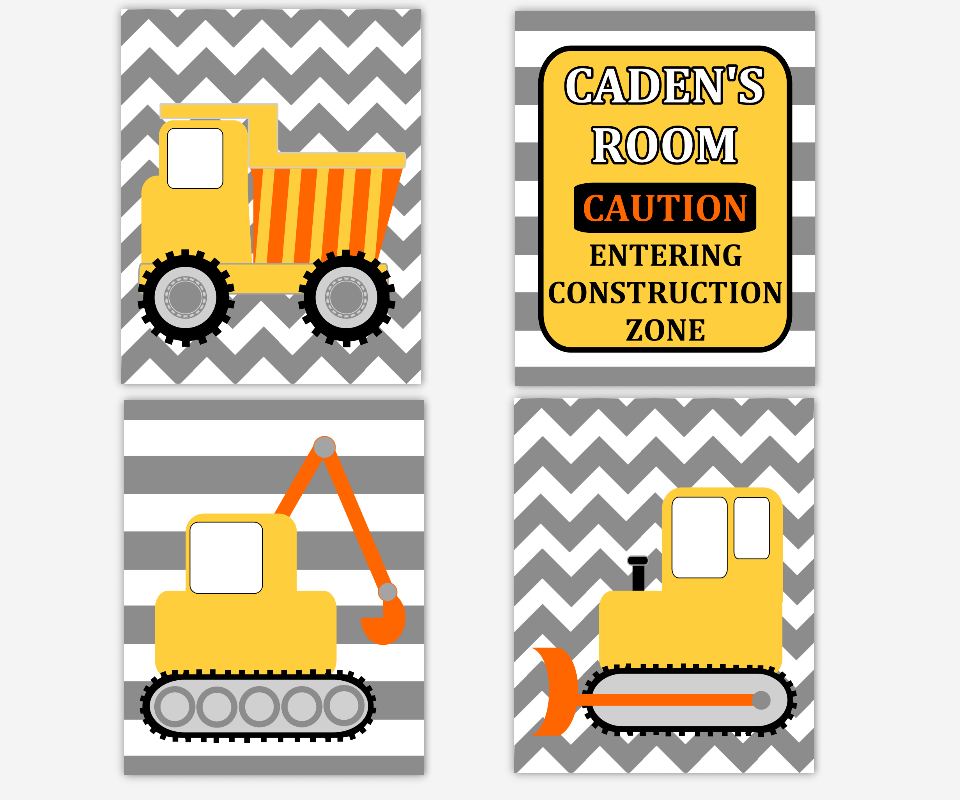 Boy Nursery Wall Art Construction Trucks Personalized Prints Dump Truck Tractor Bulldozer Warning Construction Zone Toddler Boy Room Baby Nursery Decor SET OF 4 UNFRAMED PRINTS