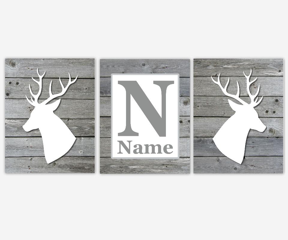 Baby Boy Nursery Art Gray White Deer Head Antlers Personalized Prints Wood Rustic Outdoors Toddler Bedroom Baby Nursery Decor