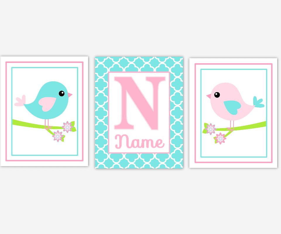 Baby Girl Nursery Art Pink Aqua Teal Blue Birds Personalized Prints Girl Bedroom Decor Baby Nursery Decor   SET OF 3 UNFRAMED PRINTS