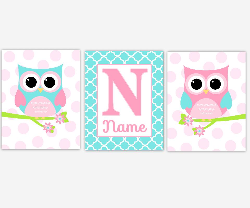 Baby Girl Nursery Art Pink Blue Aqua Teal Owls Personalized Prints Birds Polka Dots Quatrefoil Baby Nursery Decor SET OF 3 UNFRAMED PRINTS