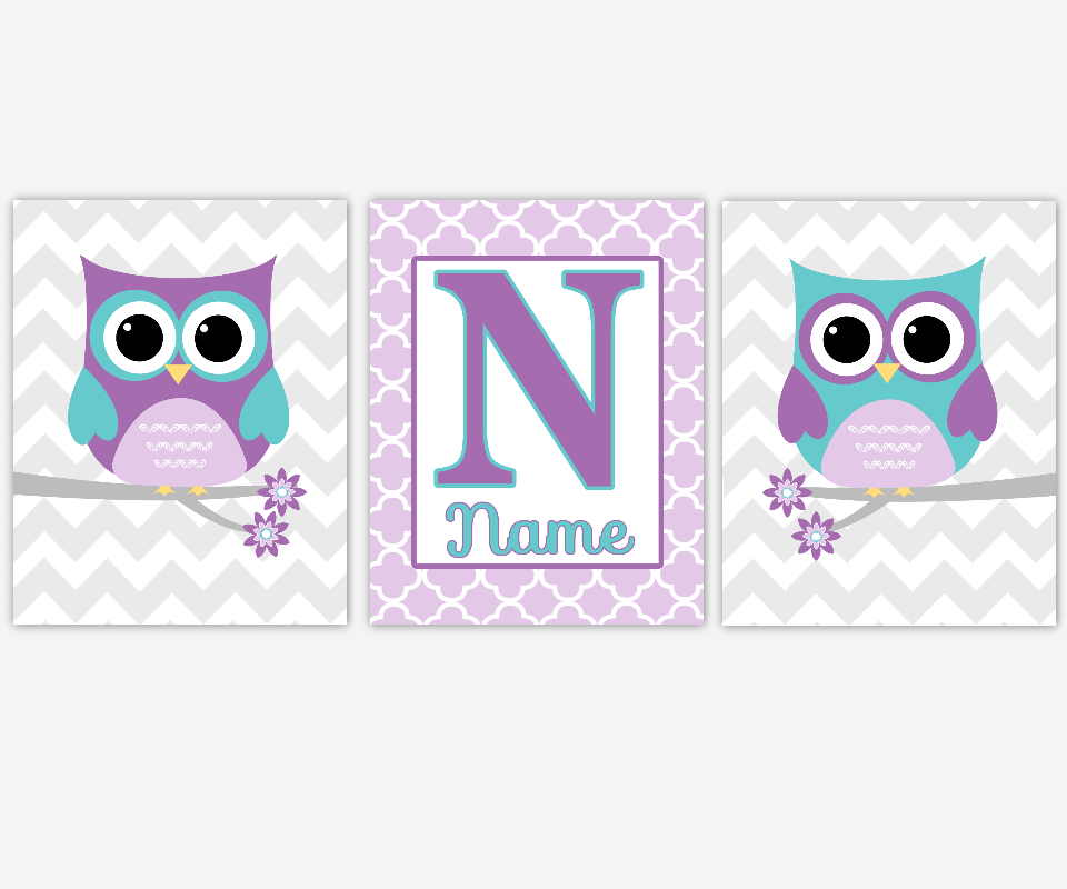 Baby Girl Nursery Art Purple Lavender Aqua Teal Personalized Prints Owl Birds Chevron Girl Room Baby Nursery Decor SET OF 3 UNFRAMED PRINTS