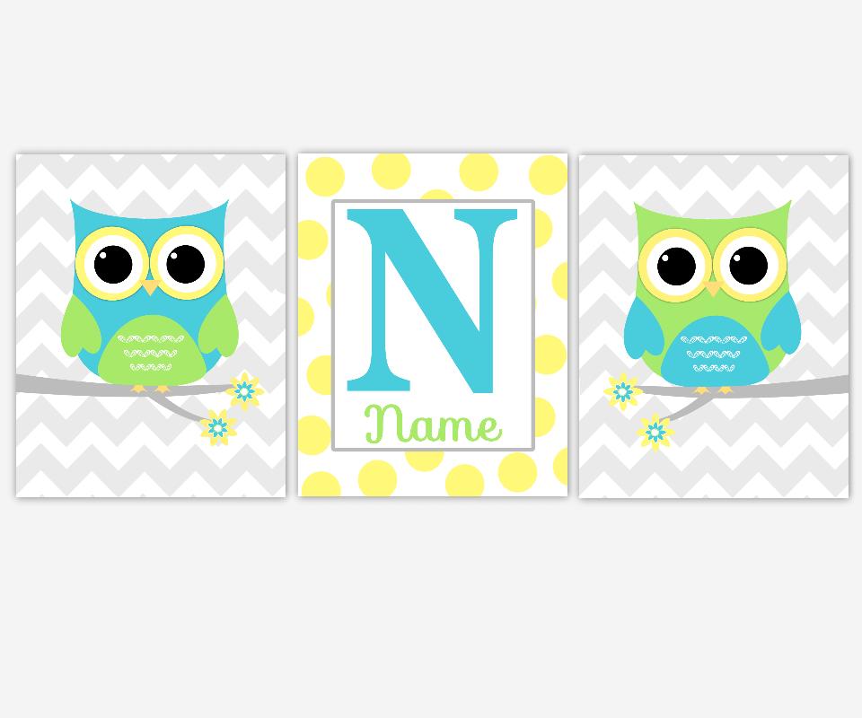 Baby Nursery Wall Art Yellow Gray Lime Green Turquoise Teal Grey Owls Chevron Personalized Name Art Baby Nursery Decor Boy Girl SET OF 3 UNFRAMED PRINTS