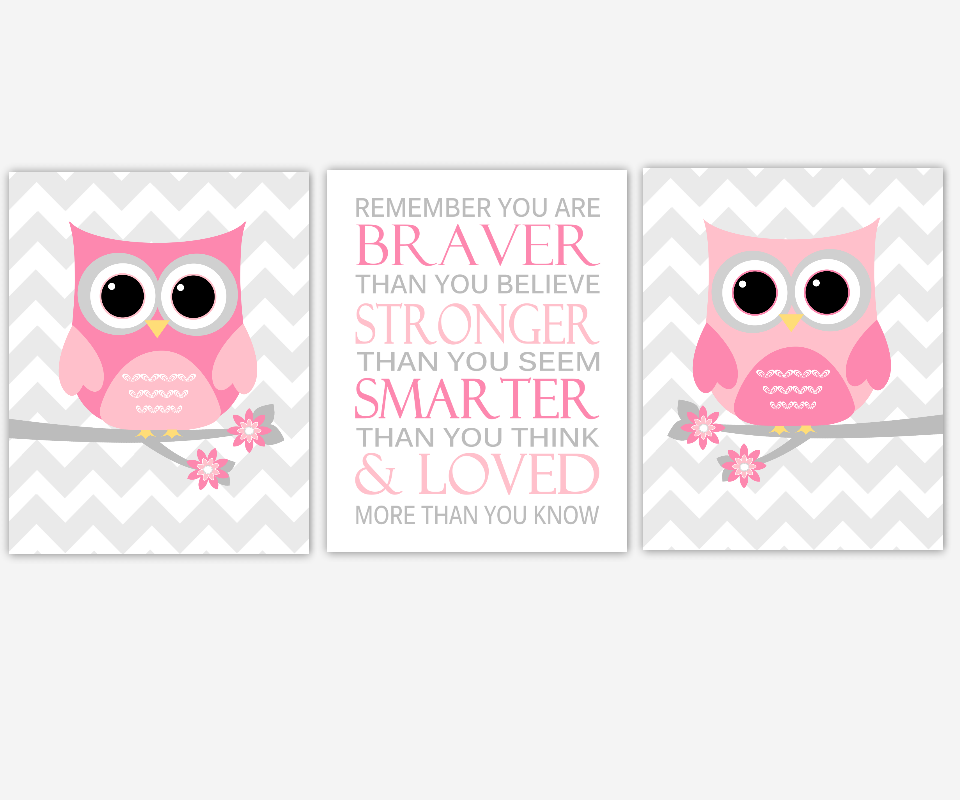 Baby Girl Nursery Wall Art Pink Gray Grey Owls Remember You Are Braver Popular Quotes Birds Flowers Chevron Baby Nursery Decor SET OF 3 UNFRAMED PRINTS