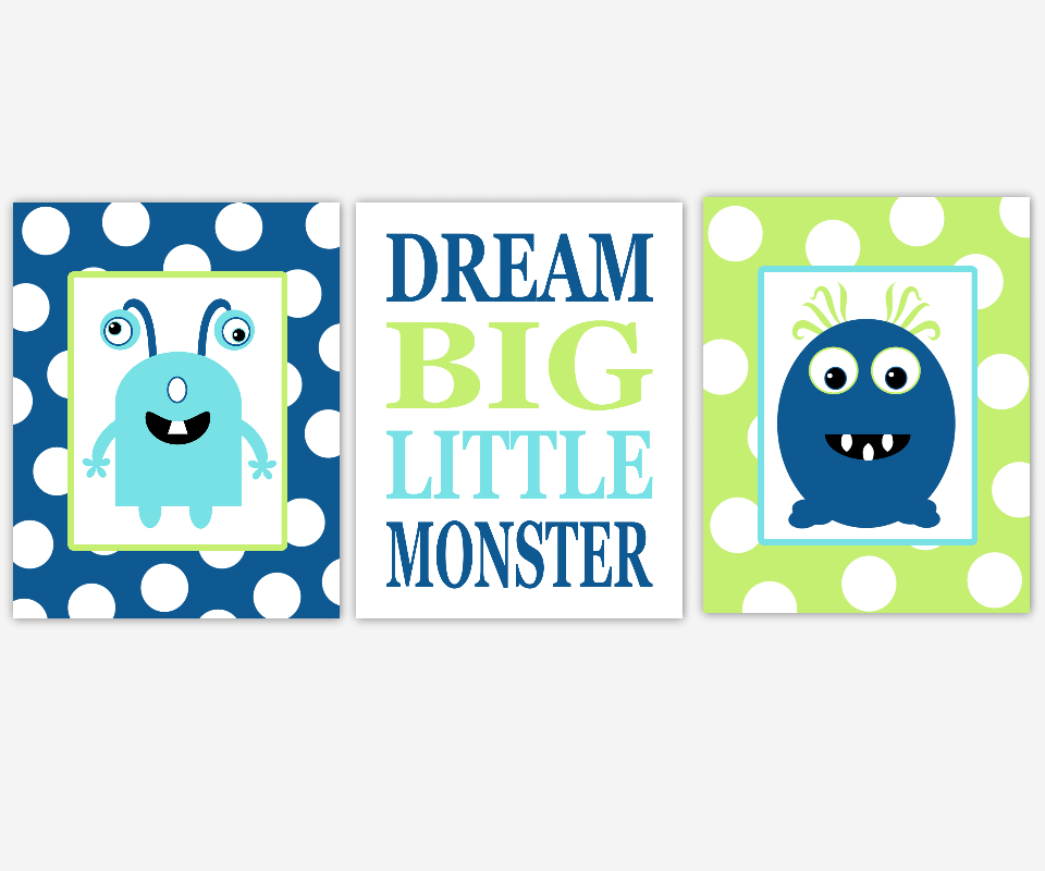 Baby Boy Nursery Wall Art Navy Blue Lime Green Aqua Teal Monsters Dream Big Little One Quotes Polka Dots Space SET OF 3 UNFRAMED PRINTS