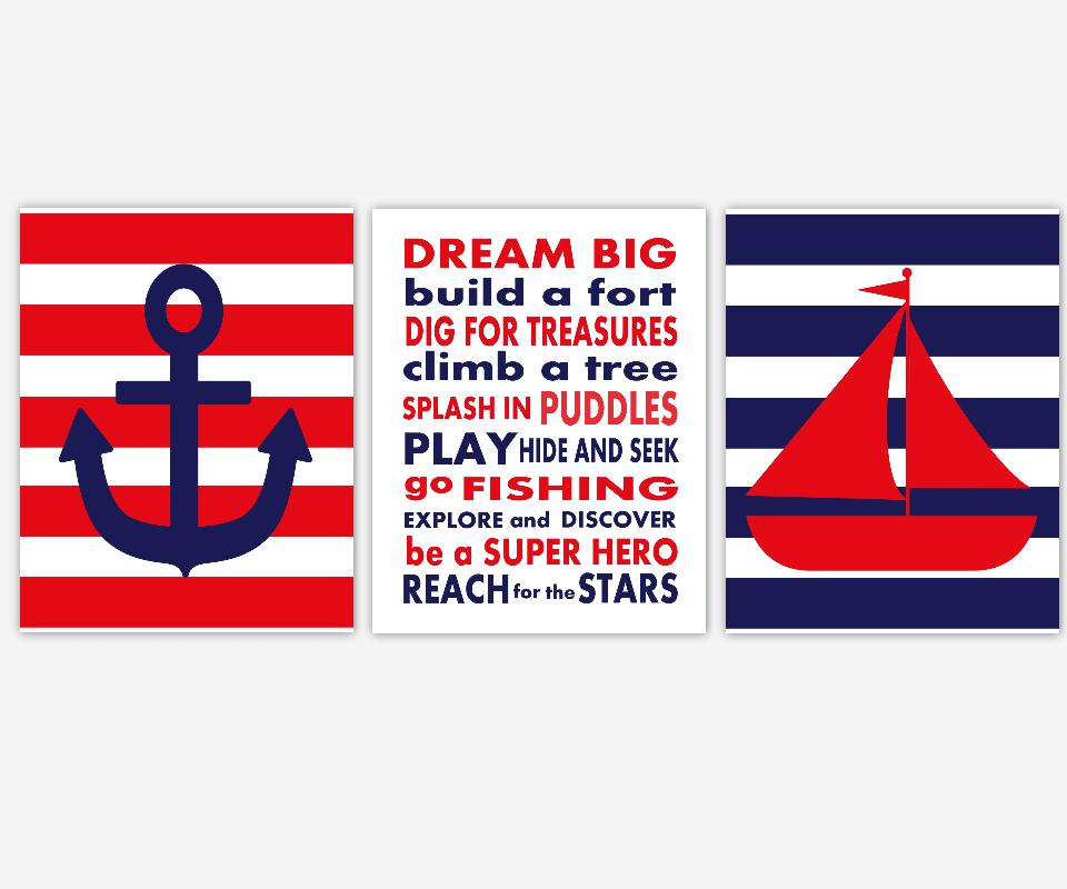 Baby Boy Nursery Wall Art Navy Blue Red Nautical Sailboat Boat Anchor Dream Big Boy Quotes Toddler Playroom Bath SET OF 3 UNFRAMED PRINTS