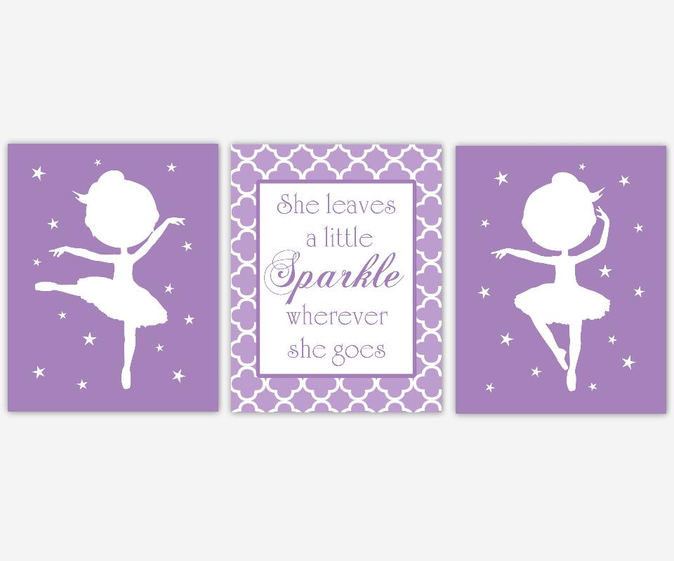 Baby Girl Nursery Art Purple Lavender White Ballerina Ballet She Leaves a Little Sparkle Quote Stars Dance Toddler Tween Bedroom SET OF 3 UNFRAMED PRINTS