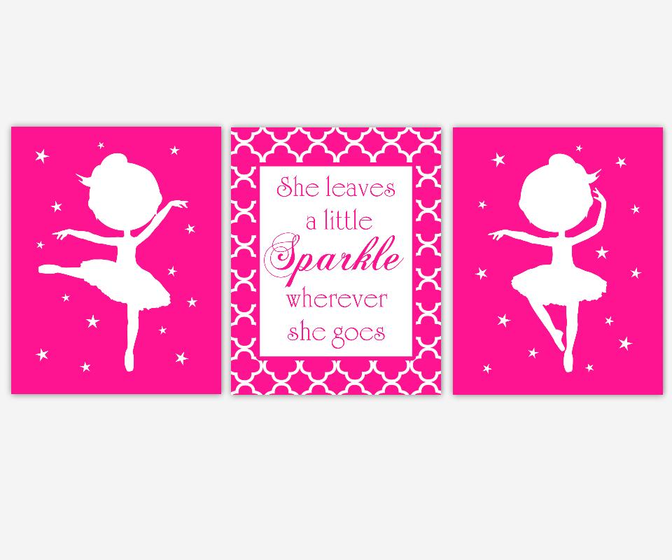 Baby Girl Nursery Art Hot Pink White Ballerina Ballet She Leaves a Little Sparkle Quote Stars Dance Toddler Tween Bedroom SET OF 3 UNFRAMED PRINTS