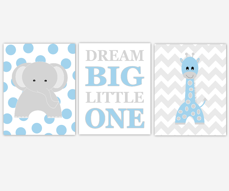 Baby Boy Nursery Wall Art Blue Gray Grey Elephant Giraffe Dream Big Little One Safari Jungle Zoo Animals Baby Nursery Decor Chevron Polka Dots SET OF 3 UNFRAMED PRINTS