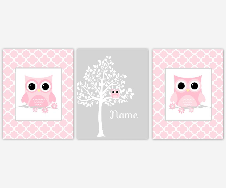Baby Girl Nursery Decor Pink Gray Grey Owl Silhouette Tree Chevron Baby Girl Nursery Art Owl Wall Decor Baby Nursery Personalize SET OF 3 UNFRAMED PRINTS