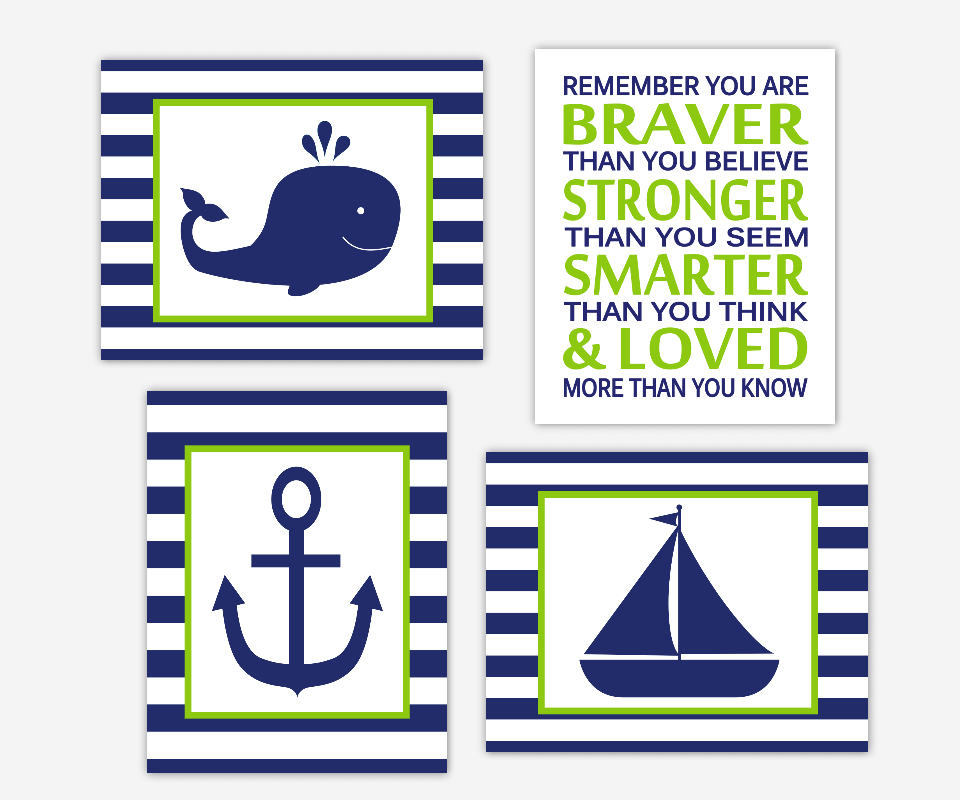 Baby Boy Nursery Wall Art Navy Blue Lime Green Nautical Sailboat Anchor Whale Boat Remember You Are Braver Toddler Boys Room SET OF 4 UNFRAMED PRINTS OR CANVAS
