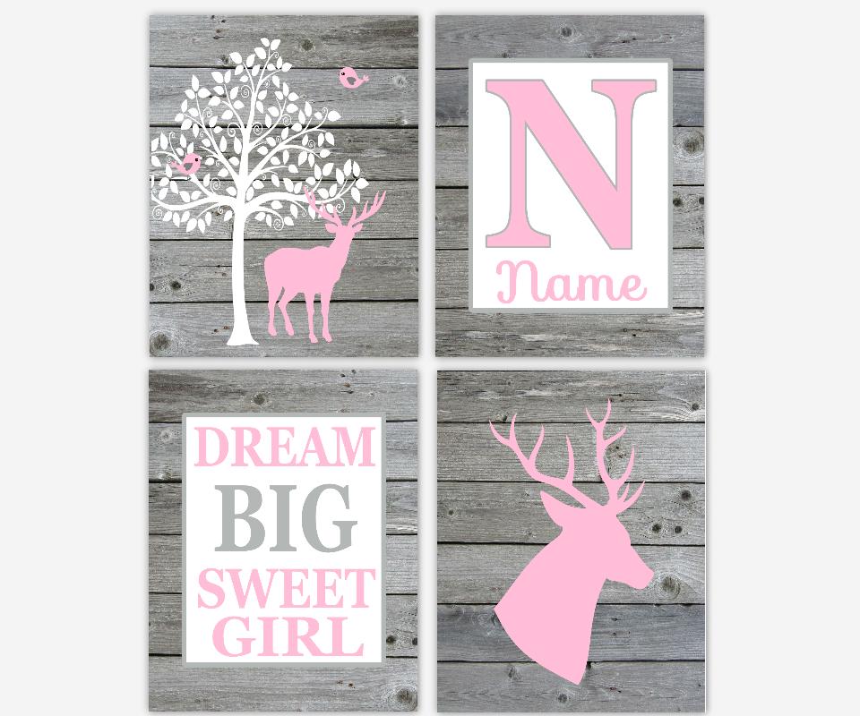 Baby Girl Nursery Wall Art Deer Antlers Pink Gray Dream Big Sweet Girl Personalized Nursery Decor Wood Rustic Look Baby Nursery Decor SET OF 4 UNFRAMED PRINTS OR CANVAS