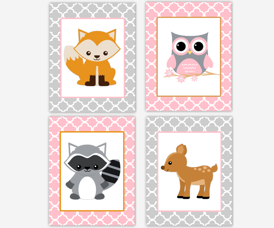 Baby Girl Nursery Wall Art Woodland Animals Pink Gray Fox Raccoon Deer Owl Forest Friend Baby Nursery Decor Quatrefoil Zoo Animals Playroom Art