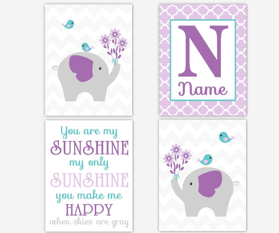 Baby Girl Nursery Wall Art Elephant You Are My Sunshine Purple Lavender Teal Aqua Personalized Name Art Baby Nursery Decor Girl Room Prints
