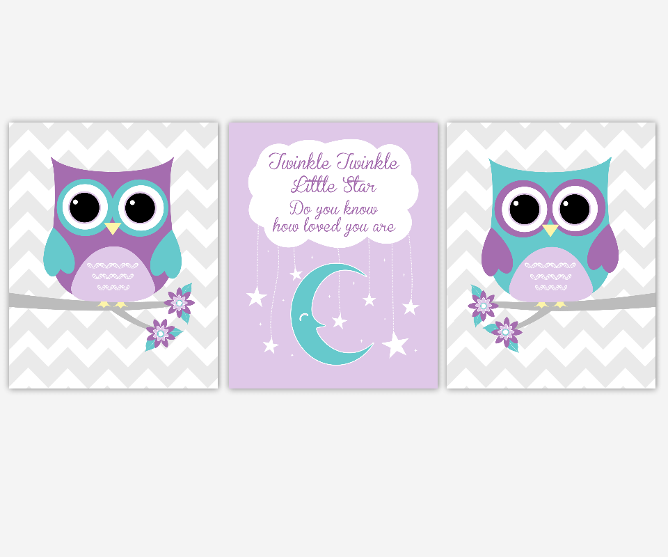 Baby Girl Nursery Wall Art Purple Lavender Teal Aqua Owls Twinkle Little Star Moon Stars Baby Nursery Decor Owl Prints SET OF 3 UNFRAMED PRINTS