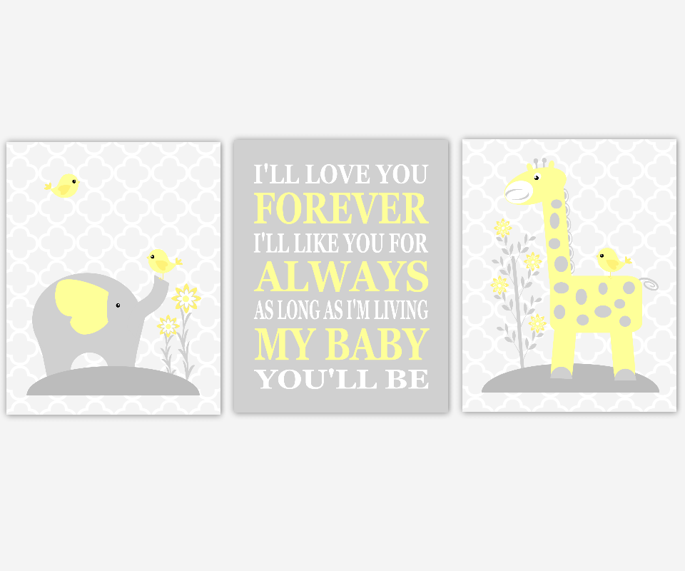 Baby Girl Nursery Wall Art Yellow Gray Grey Elephant Giraffe I'll Love You Forever My Baby You'll Be Safari Jungle Zoo Animals Baby Nursery Decor