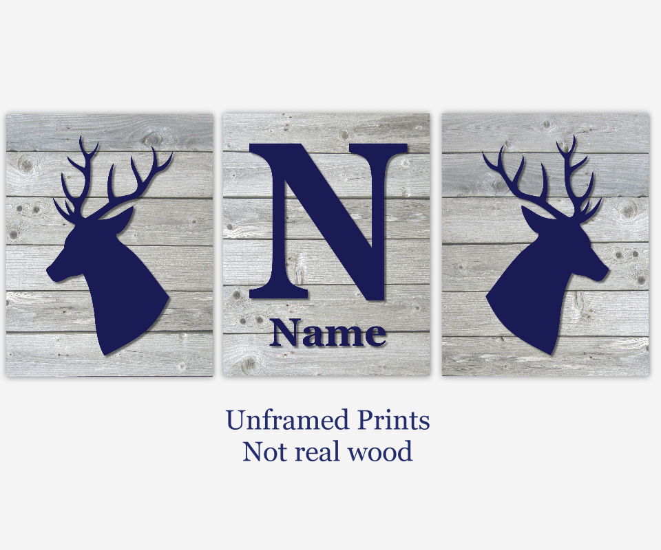Baby Boy Nursery Art Navy Blue Gray Grey Deer Head Antlers Personalized Prints Wood Rustic Outdoors Toddler Bedroom Baby Nursery Decor