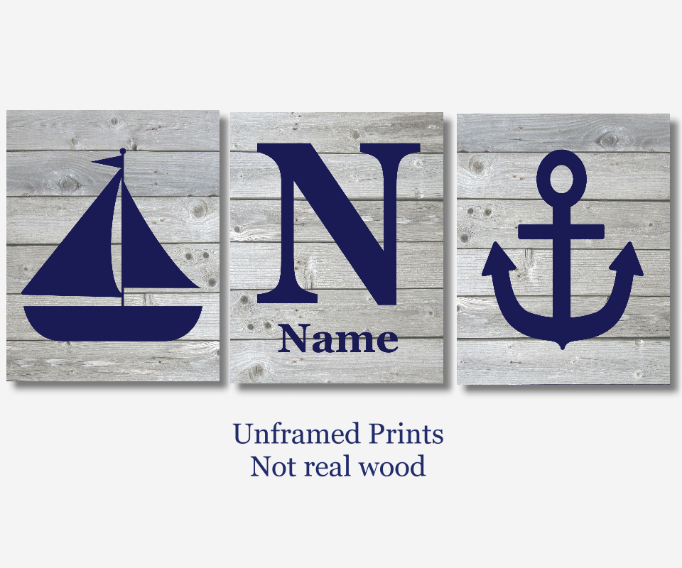 Baby Boy Nursery Art Navy Blue Gray Grey Nautical Sailboat Anchor Personalized Prints Wood Rustic Outdoors Toddler Bedroom Baby Nursery Decor