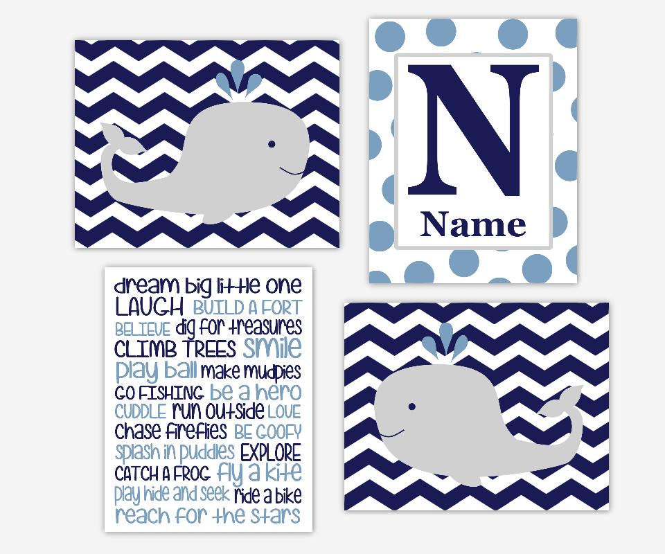 Baby BOY Nursery Wall Art Whales Blue Gray Dream Big Little One Nautical Nursery Prints Monogram Boy Room Wall Art Baby Boy Nursery Decor