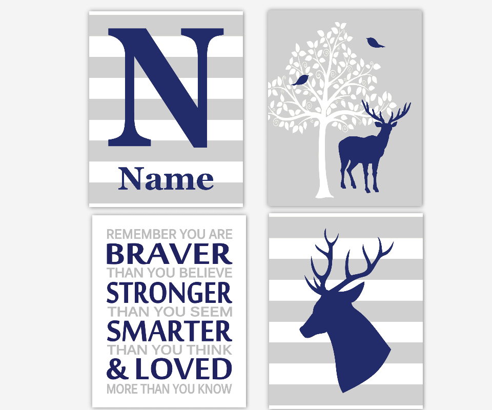 Baby Boy Nursery Wall Art Navy Blue Gray Deer Antlers Tree Remember You Are Braver Stronger Smarter Loved Toddler Boy Room Personalized SET OF 4 UNFRAMED PRINTS