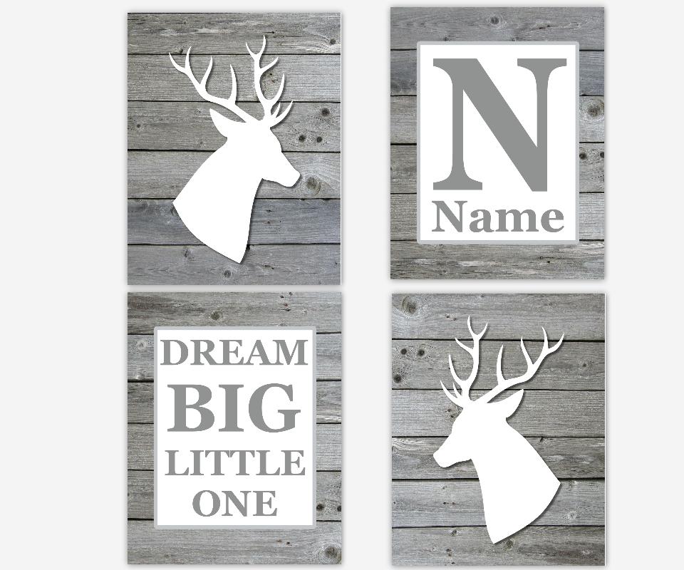Baby Boy Nursery Wall Art Gray White Deer Antlers Rustic Wood Dream Big Little One Toddler Boy Room Personalized SET OF 4 UNFRAMED PRINTS