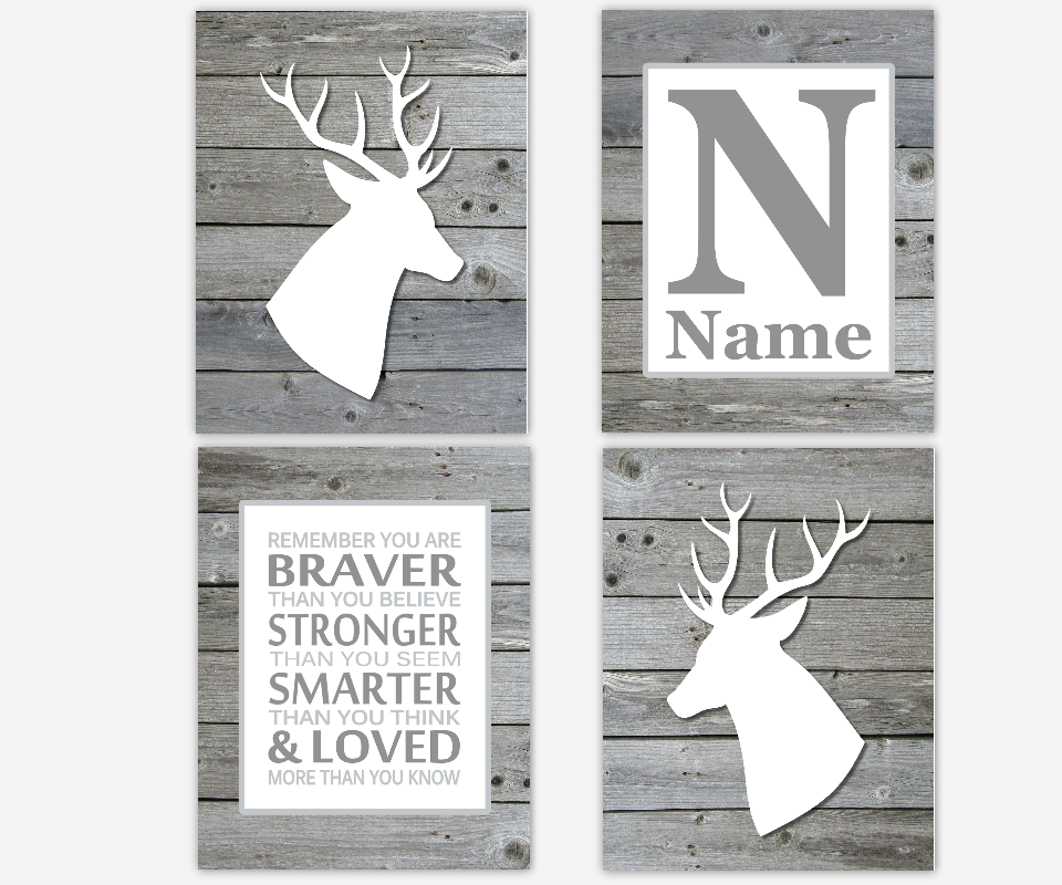 Baby Boy Nursery Wall Art Gray White Deer Antlers Rustic Wood Remember You Are Braver Stronger Smarter Loved Toddler Boy Room Personalized SET OF 4 UNFRAMED PRINTS