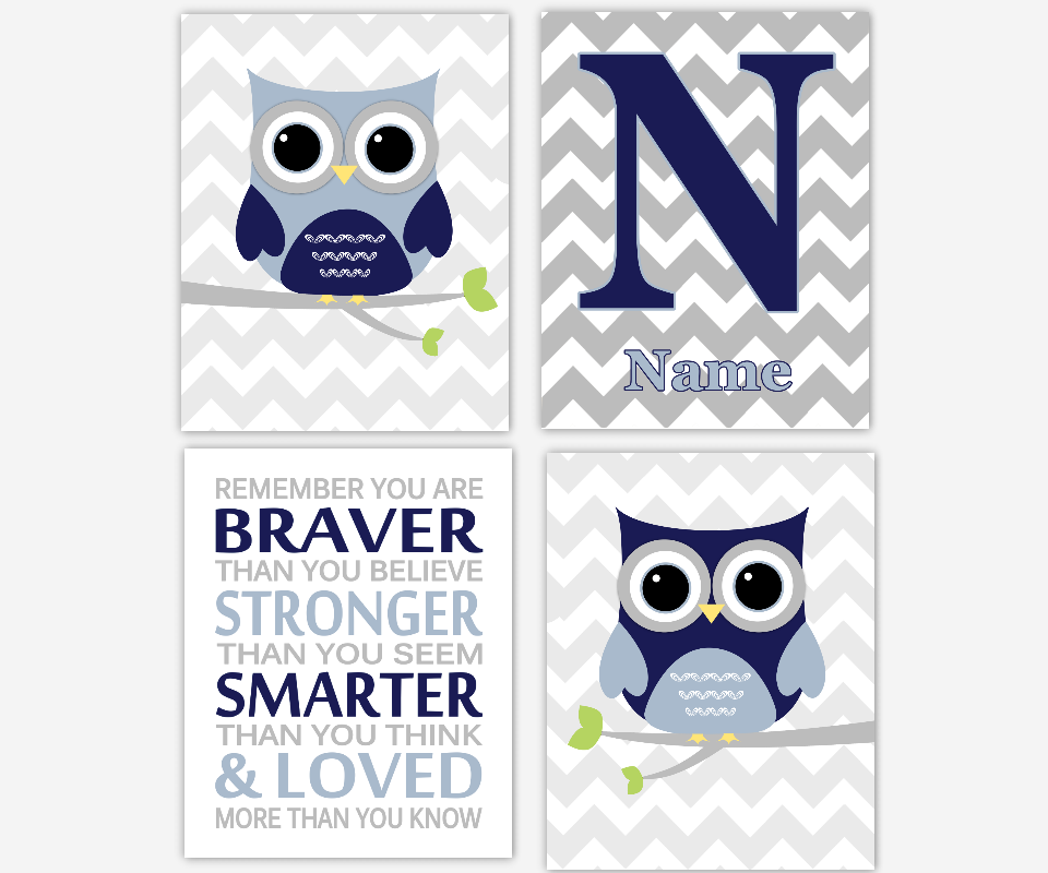Baby Boy Nursery Wall Art Navy Blue Gray Owls Personalized Remember You Are Braver Stronger Smarter Loved Toddler Boy Room SET OF 4 UNFRAMED PRINTS