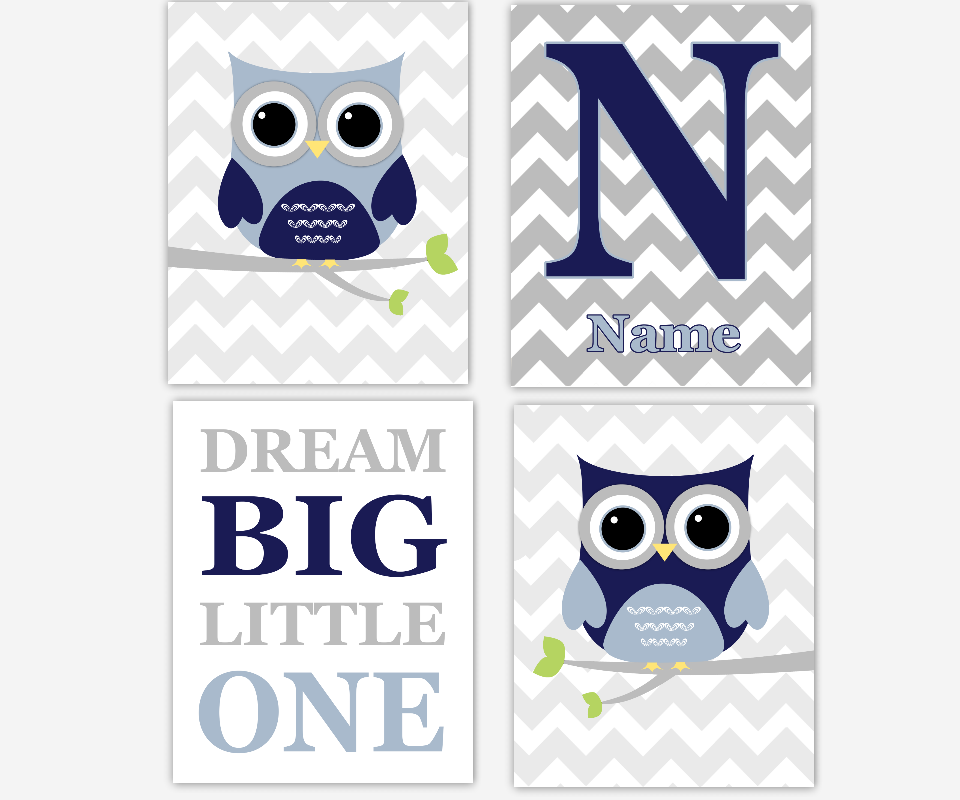 Baby Boy Nursery Wall Art Navy Blue Gray Owls Personalized Dream Big Little One Toddler Boy Room SET OF 4 UNFRAMED PRINTS OR CANVAS