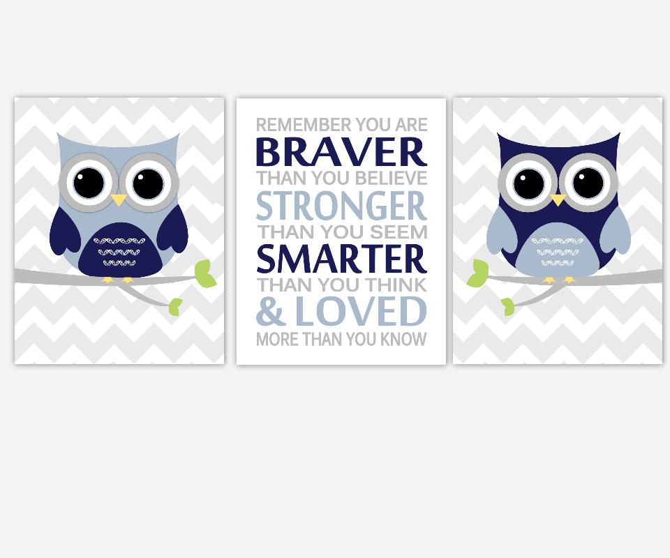 Baby Boy Nursery Wall Art Navy Blue Gray Owls Remember You are Braver Stronger Smarter Loved Baby Nursery Decor Birds Chevron  SET OF 3 UNFRAMED PRINTS