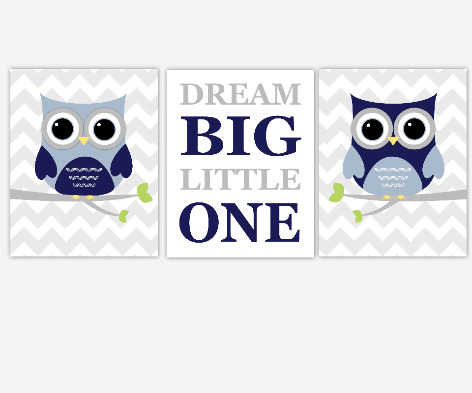 Baby Boy Nursery Wall Art Navy Blue Gray Owls Dream Big Little One Baby Nursery Decor Birds Chevron  SET OF 3 UNFRAMED PRINTS