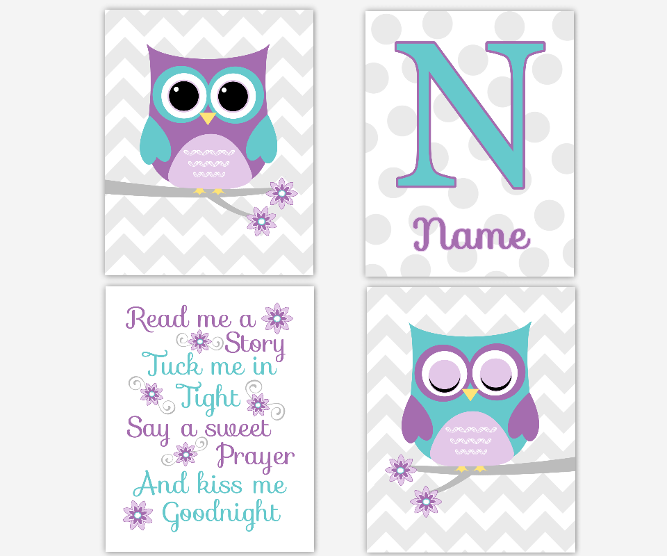 Baby Girl Nursery Wall Art Purple Teal Aqua Lavender Owls Personalized Read Me Ar Story Birds Chevron Baby Nursery Decor SET OF 4 UNFRAMED PRINTS OR CANVAS