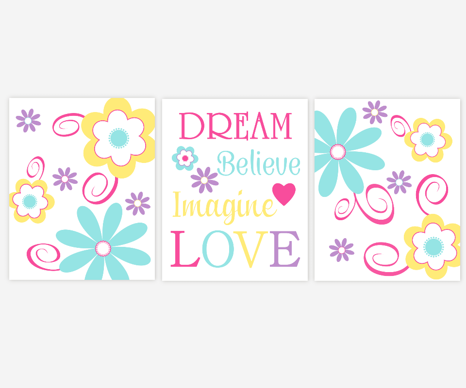 Baby Girl Nursery Wall Art Pink Yellow Purple Yellow Lavender Teal Turquoise Flowers Flora Whimsical Dream Believe Imagine Love SET OF 3 UNFRAMED PRINTS