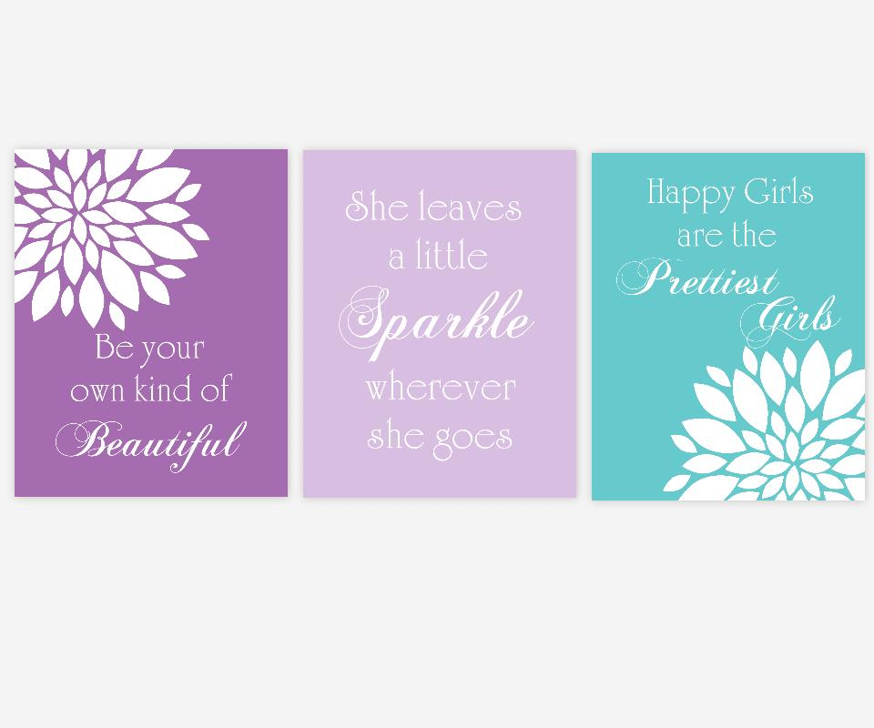 Baby Girl Nursery Wall Art Purple Lavender Teal Turquoise Flowers Mums Beautiful Sparkle Prettiest Girls Quotes Hepburn Toddler Tween Bedroom Decor SET OF 3 UNFRAMED PRINTS