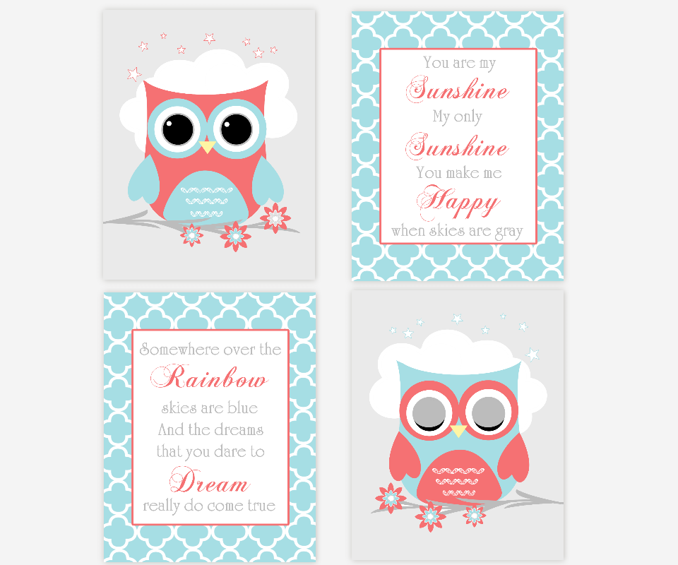 Baby Girl Nursery Wall Art Owls Coral Teal Aqua Gray You Are My Sunshine Somewhere Over The Rainbow Nursery Songs Baby Nursery Decor SET OF 4 UNFRAMED PRINTS OR CANVAS