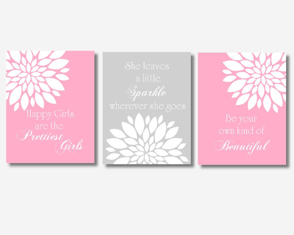 Baby Girl Nursery Wall Art Pink Gray Flower Dahlia Mums Bursts Floral Audrey Hepburn Quotes Beautiful Prettiest Sparkle Girl Bedroom Prints Baby Nursery Decor SET OF 3 UNFRAMED PRINTS