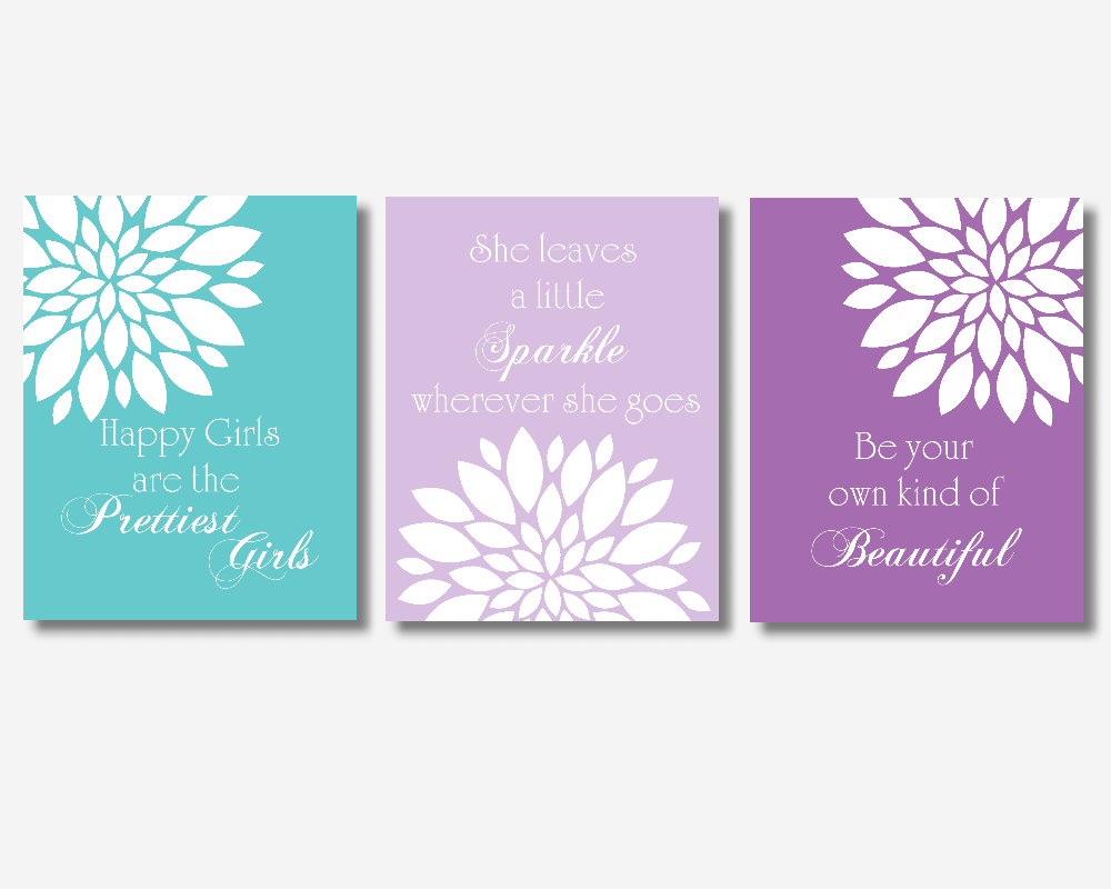 Baby Girl Nursery Wall Art Purple Teal Lavender Flower Dahlia Mums Bursts Floral Audrey Hepburn Quotes Beautiful Prettiest Sparkle Girl Bedroom Prints Baby Nursery Decor SET OF 3 UNFRAMED PRINTS