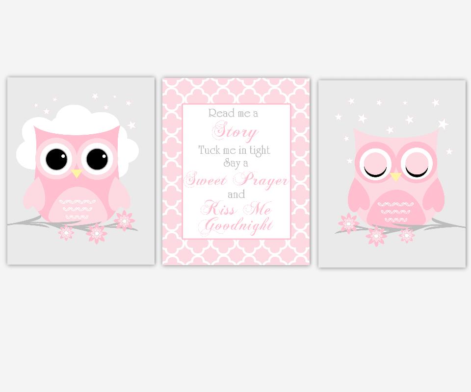 Baby Girl Nursery Wall Art Pink Gray Owls Read Me A Story Kiss Me Goodnight Baby Nursery Decor  SET OF 3 UNFRAMED PRINTS