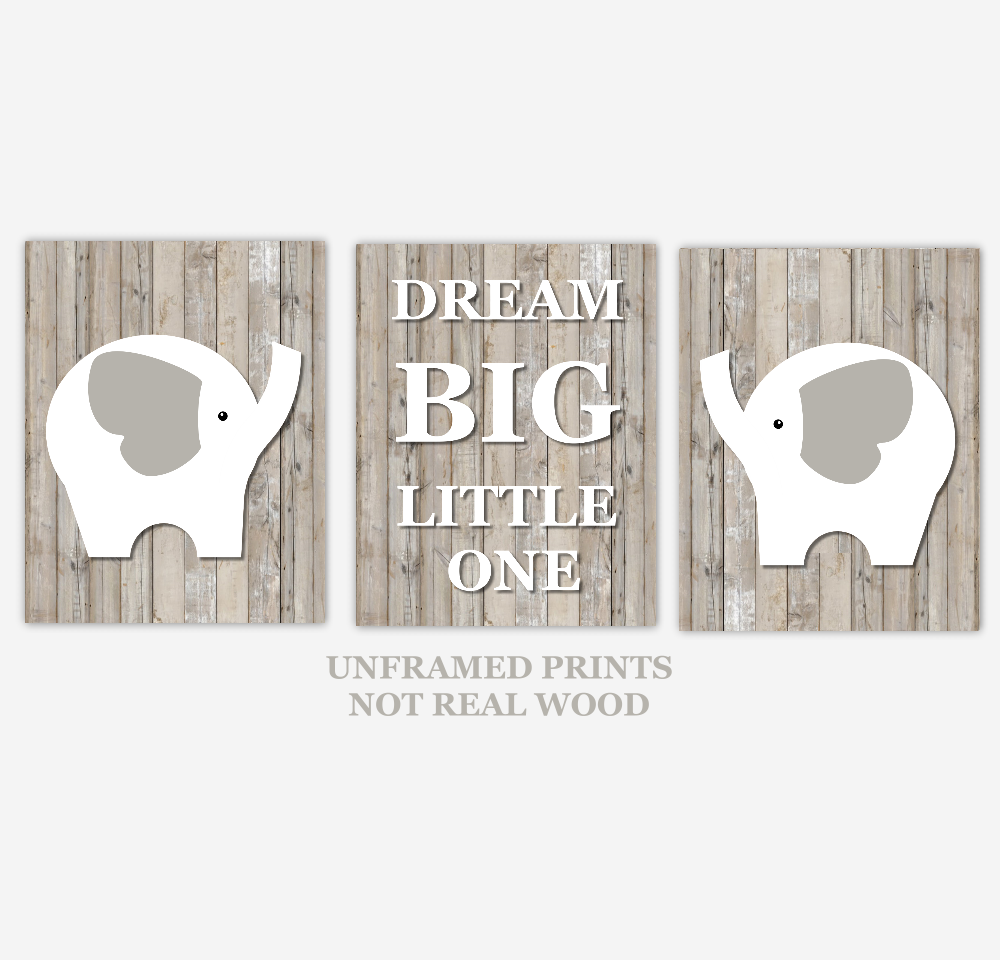 Baby Boy Nursery Wall Art Elephant Brown Beige Tan Rustic Wood Dream Big Little One Baby Nursery Decor SET OF 3 UNFRAMED PRINTS