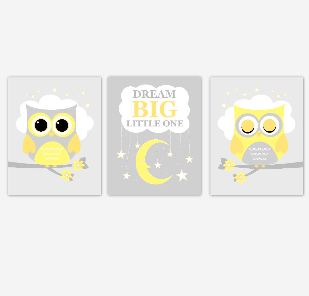 Yellow Gray Baby Nursery Wall Art Owls Dream Big Gender Neutral Moon Stars Baby Nursery Decor SET OF 3 UNFRAMED PRINTS