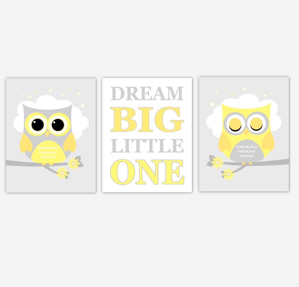Yellow Gray Baby Nursery Wall Art Owls Dream Big Little One Gender Neutral Moon Stars Baby Nursery Decor SET OF 3 UNFRAMED PRINTS