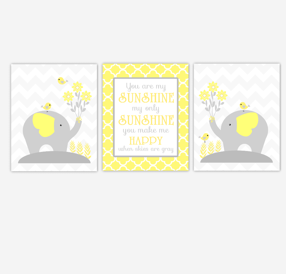 Yellow Gray Baby Nursery Wall Art Elephant You Are My Sunshine Gender Neutral Baby Nursery Decor SET OF 3 UNFRAMED PRINTS