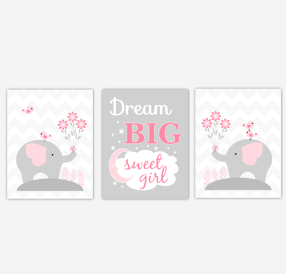 Pink Baby Girl Nursery Wall Art Elephant Dream Big Safari Jungle Zoo Animals Baby Nursery Decor SET OF 3 UNFRAMED PRINTS
