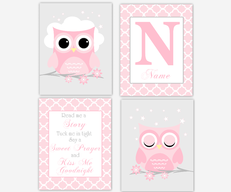 Owl Baby Girl Nursery Wall Art Pink Gray Personalized Prints Read Me A Story Quote Baby Nursery Decor SET OF 4 UNFRAMED PRINTS OR CANVAS