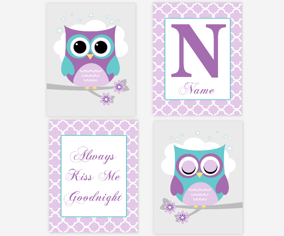Owl Baby Girl Nursery Wall Art Purple Teal Personalized Prints Always Kiss Me Goodnight Baby Nursery Decor SET OF 4 UNFRAMED PRINTS