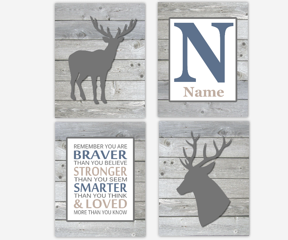 Baby Boy Nursery Art Deer Antlers Blue Gray Personalized Remember You are Braver Woodland Baby Nursery Decor