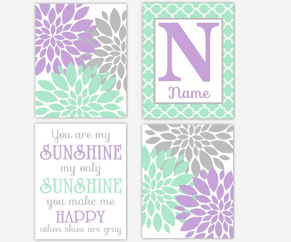 Girl Nursery Wall Art Mint Purple Flower Dahlia Mums Burst You Are My Sunshine Personalized Prints Baby Nursery Decor SET OF 4 UNFRAMED PRINTS OR CANVAS