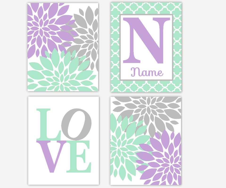 Girl Nursery Wall Art Mint Purple Flower Dahlia Mums Burst LOVE Personalized Prints Baby Nursery Decor SET OF 4 UNFRAMED PRINTS OR CANVAS