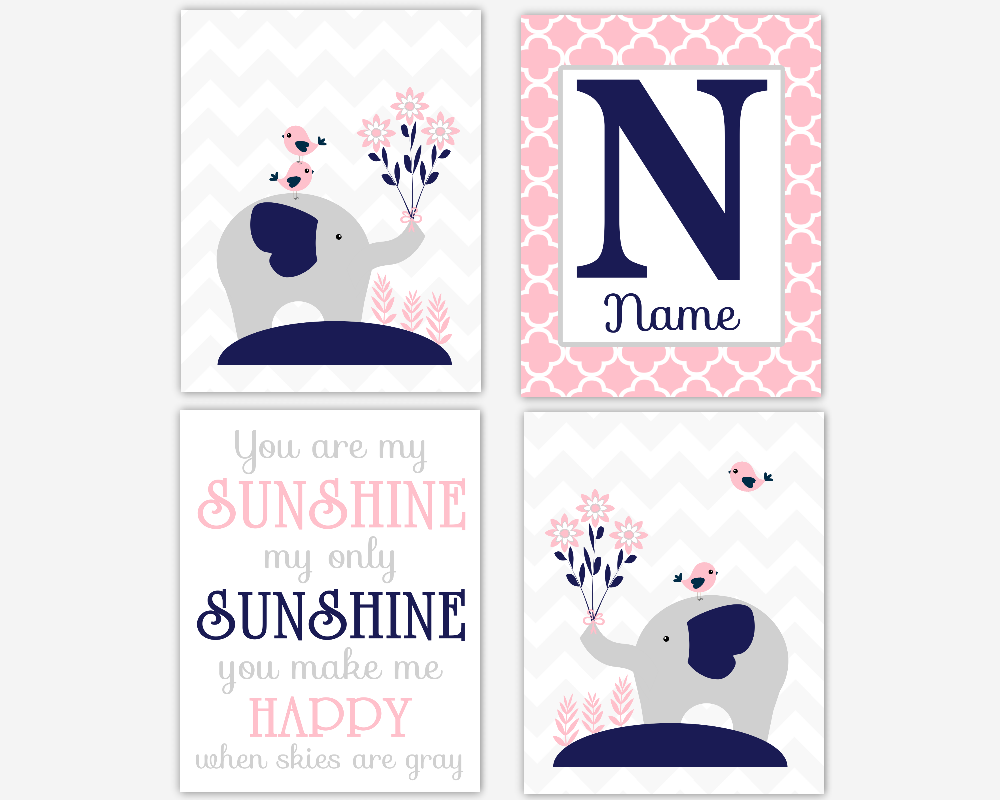 Baby Girl Nursery Wall Art Pink Navy Blue Elephant You Are My Sunshine Personalized Prints Baby Nursery Decor SET OF 4 UNFRAMED PRINTS