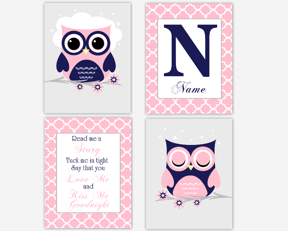 Baby Girl Nursery Wall Art Pink Navy Blue Elephant Read Me A Story Personalized Prints Baby Nursery Decor SET OF 4 UNFRAMED PRINTS OR CANVAS