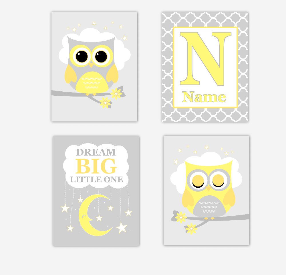 Owl Baby Nursery Wall Art Yellow Gray Gender Neutral Personalized Prints Dream Big Quotes Baby Nursery Decor Boy Girl SET OF 4 UNFRAMED PRINTS