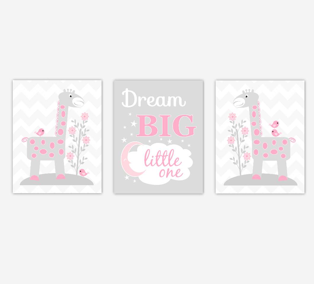 Baby Girl Nursery Artwork Pink Gray Giraffes Safari Jungle Animals Dream Big Little One Baby Nursery Decor Prints SET OF 3 UNFRAMED PRINTS